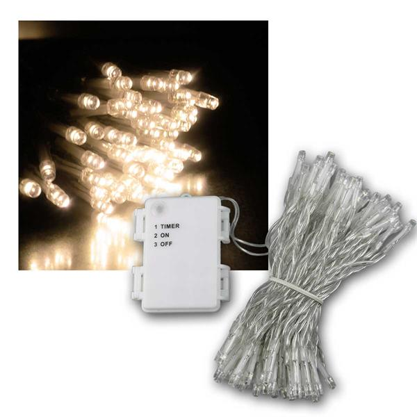 LED Batterie-Lichterkette CT-TK100 10m warmweiß