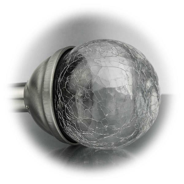 LED Gartenleuchten mit Glaskugel in Bruchglasoptik