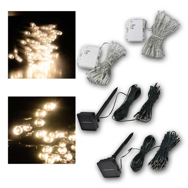 Lichterketten 50/100 LEDs warmweiß, Batterie/Solar