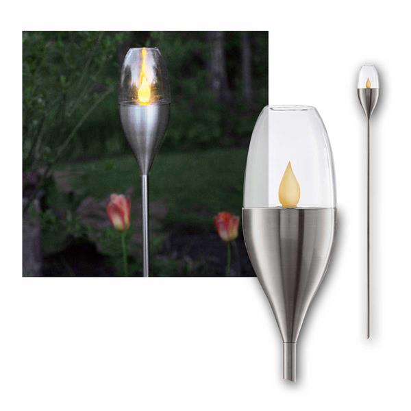 Solar LED Fackel TOULON Edelstahl-Design für Außen