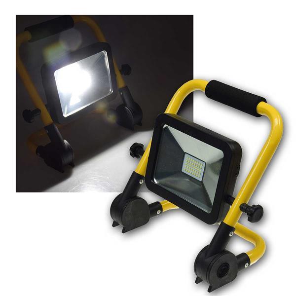 LED Akku Baustrahler 20W IP44 1500lm 230V SLIM