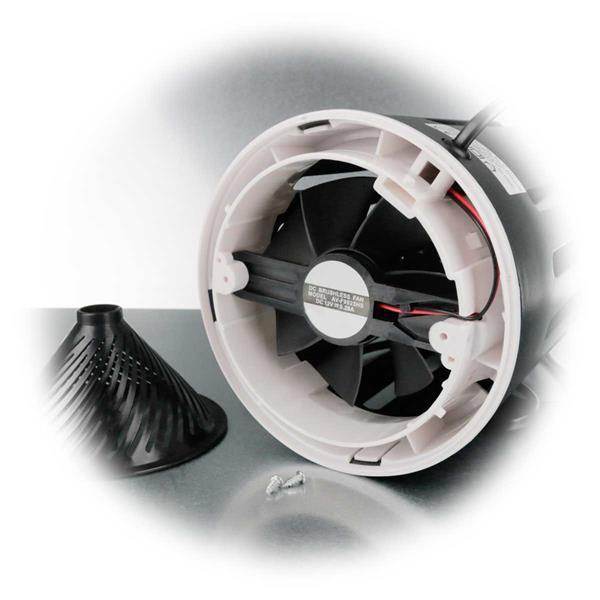 durch Saugwirkung des Ventilators gelangen die Insekten in den Behälter