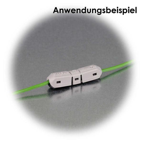 lösbare Verbindungen zur Verlängerung von zwei Kabeln
