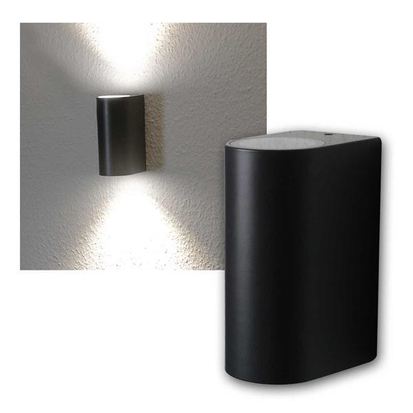 LED Wandleuchte anthrazit, 2x 5W COB daylight IP44