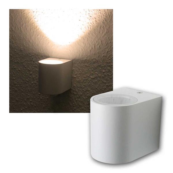 LED Wandleuchte weiß, 1x 3W COB warmweiß IP44