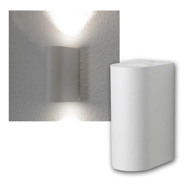 LED Wandleuchte weiß, 2x 3W COB daylight IP44