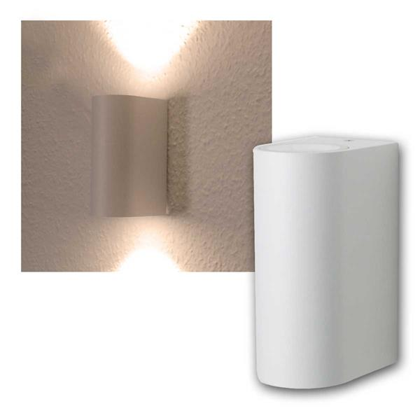 LED Wandleuchte weiß, 2x 3W COB warmweiß IP44