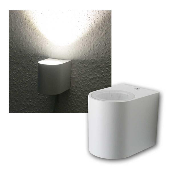 LED Wandleuchte weiß, 1x 5W COB daylight IP44