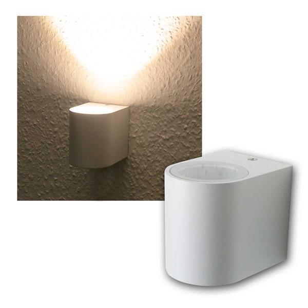 LED Wandleuchte weiß, 1x 5W COB warmweiß IP44