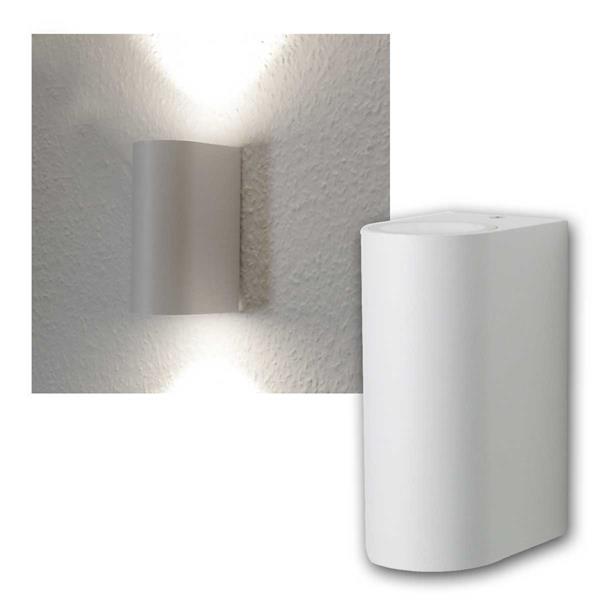 LED Wandleuchte weiß, 2x 5W COB daylight IP44