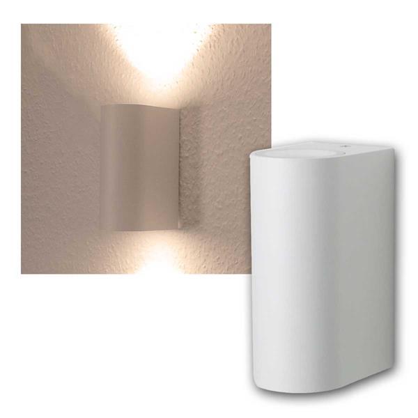 LED Wandleuchte weiß, 2x 5W COB warmweiß IP44