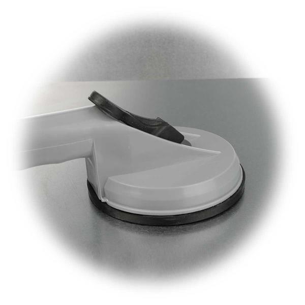 Glasheber mit Feststellhebel erzeugt Vakuum für festen Sitz