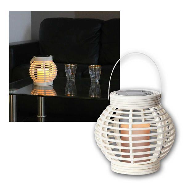 Solar Laterne weiß, inkl LED Kerze, Weidenoptik