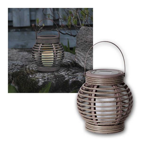 Solar Laterne grau/braun ink LED Kerze Weidenoptik