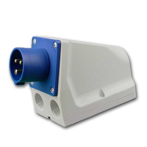 CEE  Wandgerätestecker 230V/16A blau 3-polig, IP44