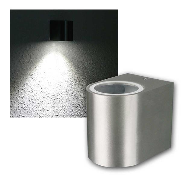 LED Wandleuchte Alu OVAL, 1x 3W COB daylight IP44