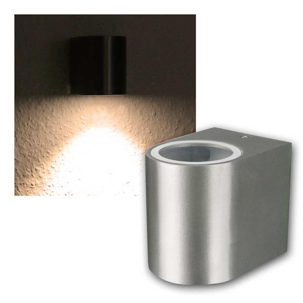 LED Wandleuchte Alu OVAL, 1x 3W COB warmweiß IP44