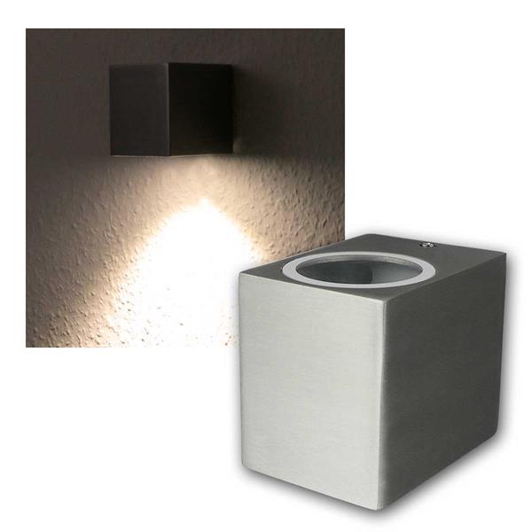 LED Wandleuchte Alu SQARE, 1x 3W COB warmweiß IP44