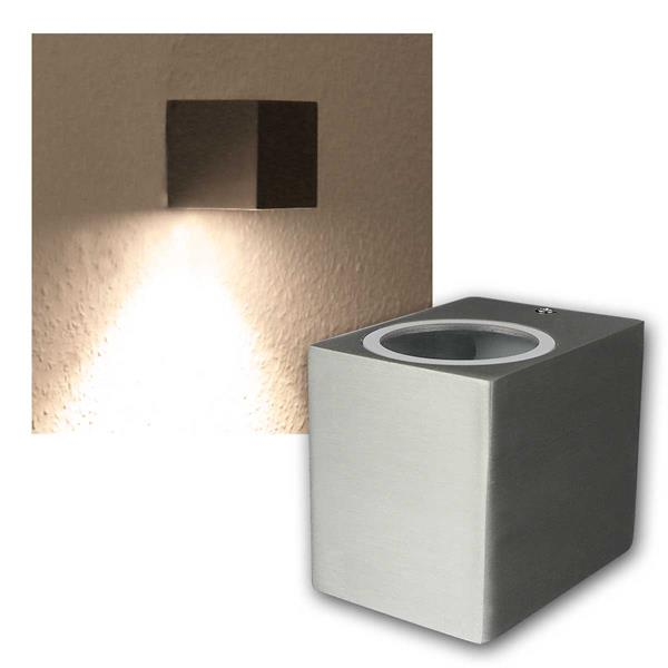 LED Wandleuchte Alu SQARE, 1x 5W COB warmweiß IP44