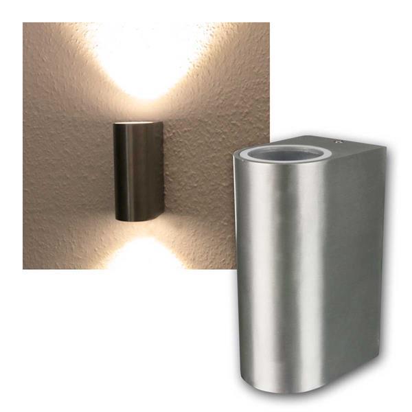 LED Wandleuchte Alu OVAL, 2x 3W COB warmweiß IP44