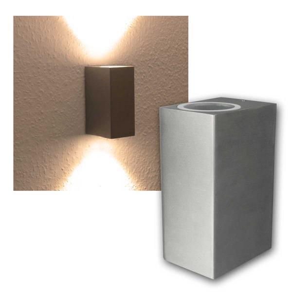 LED Wandleuchte Alu SQARE, 2x 3W COB warmweiß IP44