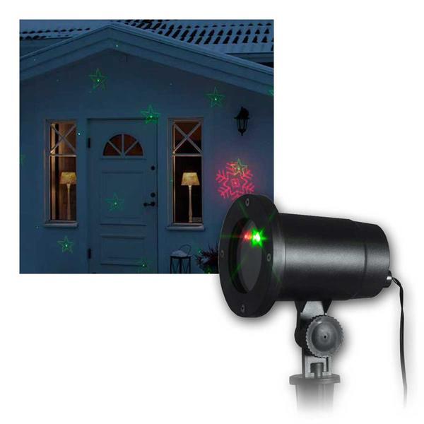 LED Laser Projektor rot/grün 8 Motive auf Fassaden