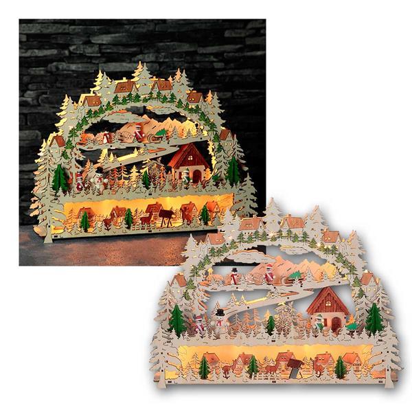 Fensterleuchter Schwarzwald 14 LED warmweiß Holz natur