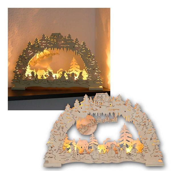 Fensterleuchter Erding 10 LED Holz natur Batteriebetrieb