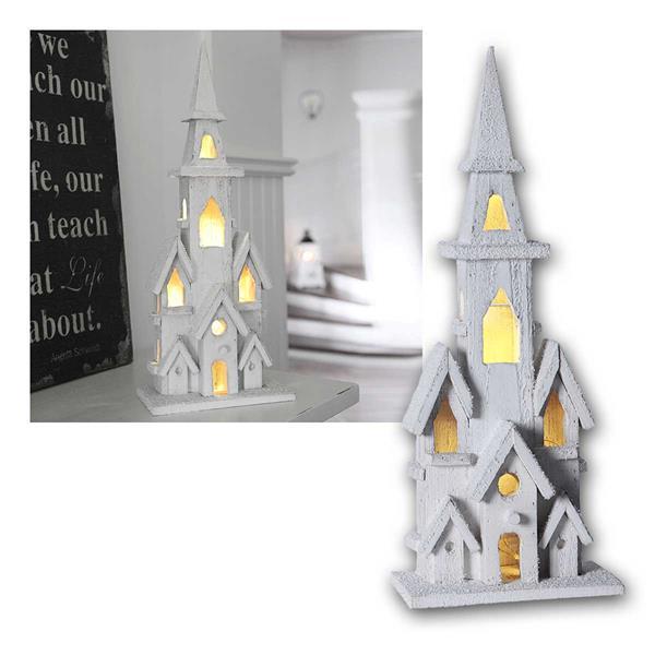 LED Weihnachtshaus Holz weiß mit Timer, Batterie