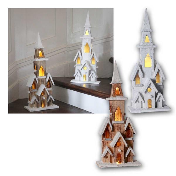 LED Weihnachtshaus Holz natur/weiß mit Timer