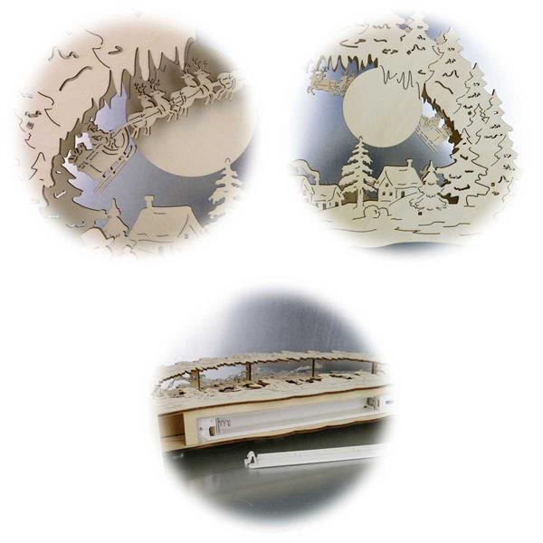 LED-Fensterleuchter aus Holz mit Wintermotiven