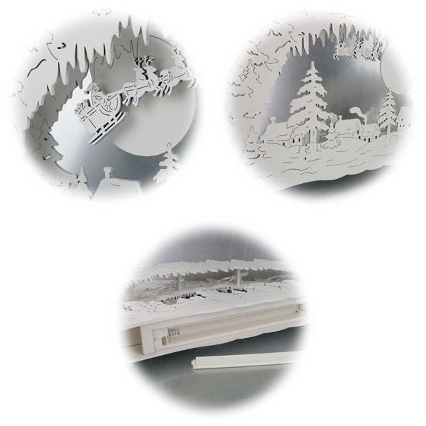 Batteriebetriebener LED Holz-Fensterleuchter Erding in natur/weiß