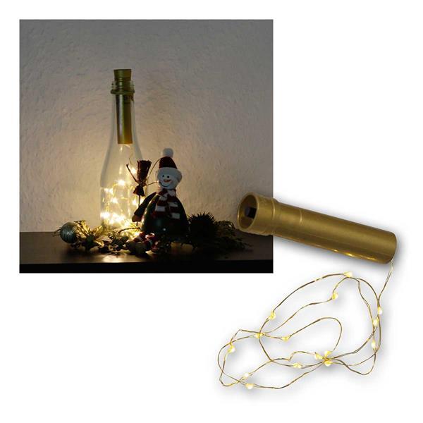 Draht-Lichterkette zB als Flaschenverschluß 15 LED