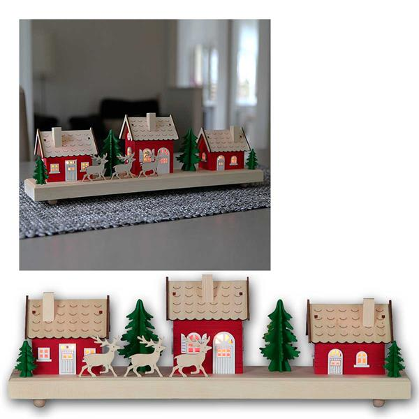 LED Weihnachtshäuser Hedemora, Timer, aus Holz
