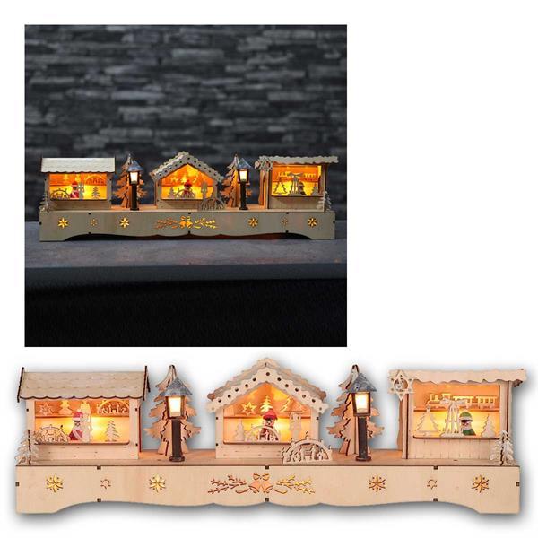 LED Weihnachtshäuser Adventsmarkt, Timer, aus Holz