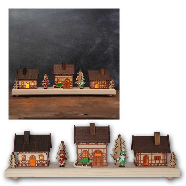 LED Weihnachtshäuser Regensburg, Timer, aus Holz