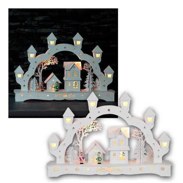 Fensterleuchter Burghausen 13 LED warm Holz weiß