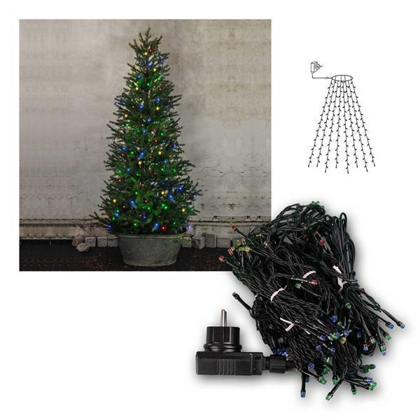 Baumvorhang Lichterkette, 160 LED bunt, 8 Stränge