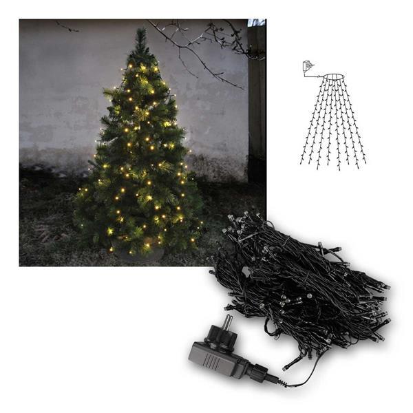 Baumvorhang Lichterkette, 160 LED warmweiß, 8 Stränge