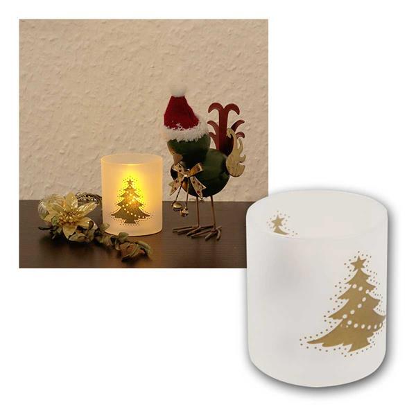 LED Teelicht flackernd, Weihnachtsmotiv & Becher