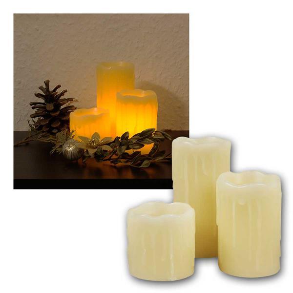 LED Echtwachs Stumpen Kerzen, 3er Pack, 5/7/10cm