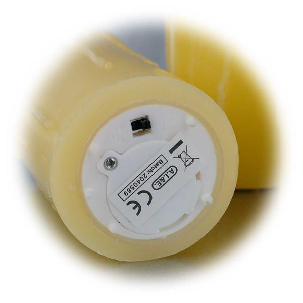 3er Set LED Wachskerzen Set Ein-/Ausschalter am Boden