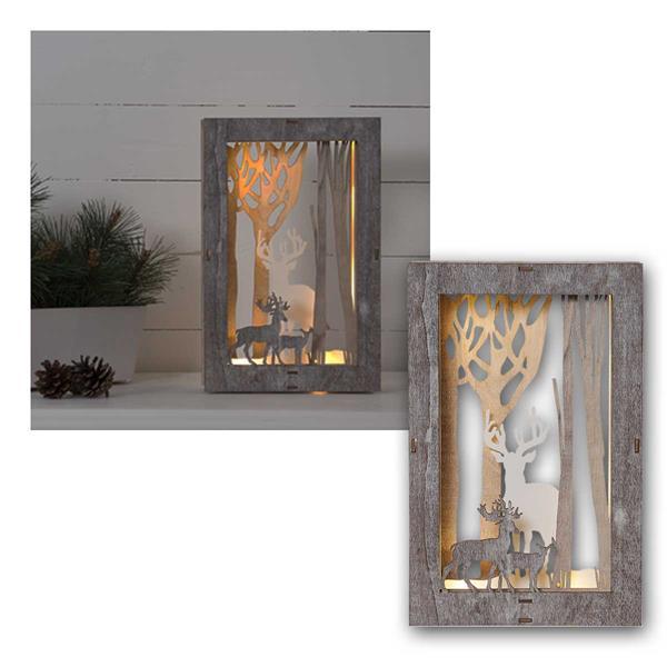 Dekobild Fauna 10 LED warmweiß 18x28cm aus Holz
