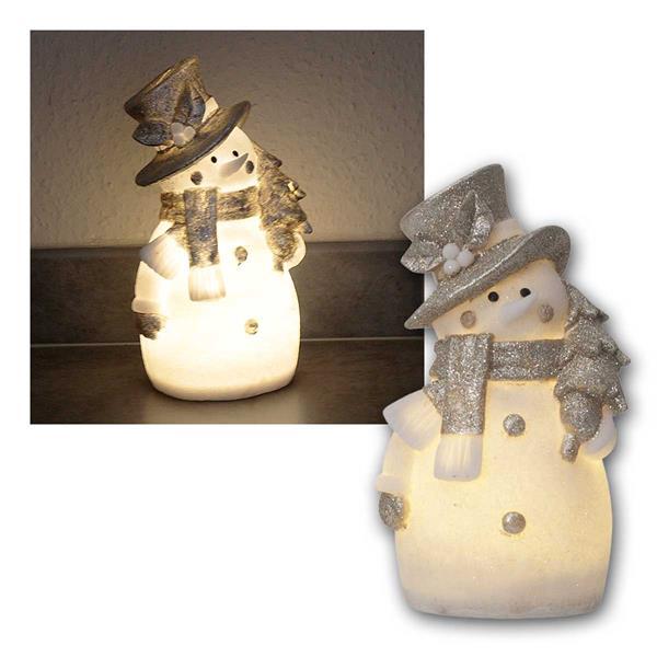 Deko Figur Schneemann 25cm weiß/silber, 4 LED warm