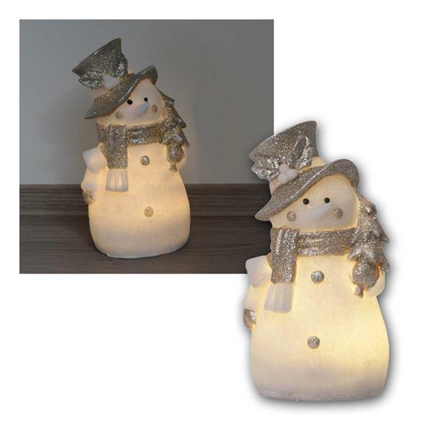 Deko Figur Schneemann 20cm weiß/silber, 4 LED warm