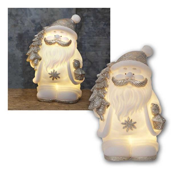 Deko Figur Weihnachtsmann weiß/silber, 4 LED warm