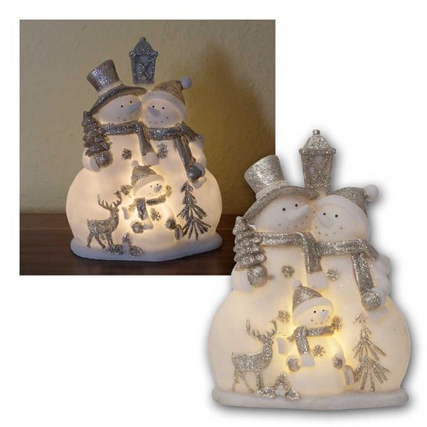 Deko Figur Schneemänner weiß/silber, 4 LED warm