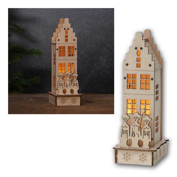 LED Leuchthaus Minden Weihnachtshaus aus Holz