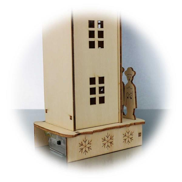 LED Weihnachtslichterhaus mit Tür auf der Rückseite für Batteriebox