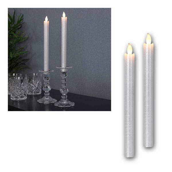 LED Stabkerzen Presse silber 2er Set Kerzen